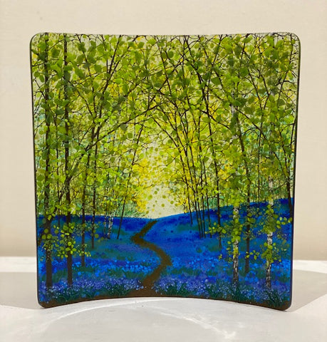 Vanda Zebrak and Peter Smyth 'Bluebells' No 8 fused glass panel H31cm W28cm D4cm