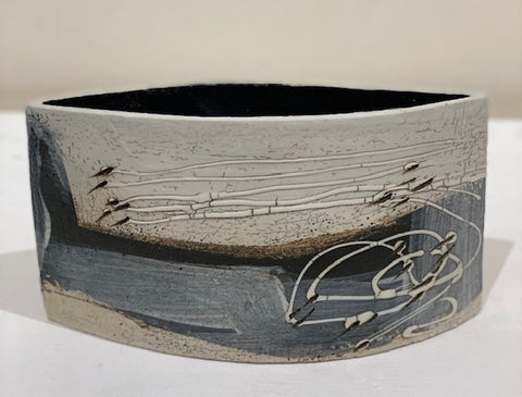Laurel Keeley 'Black Landscape Pot' ceramic H14cm W25cm D5cm