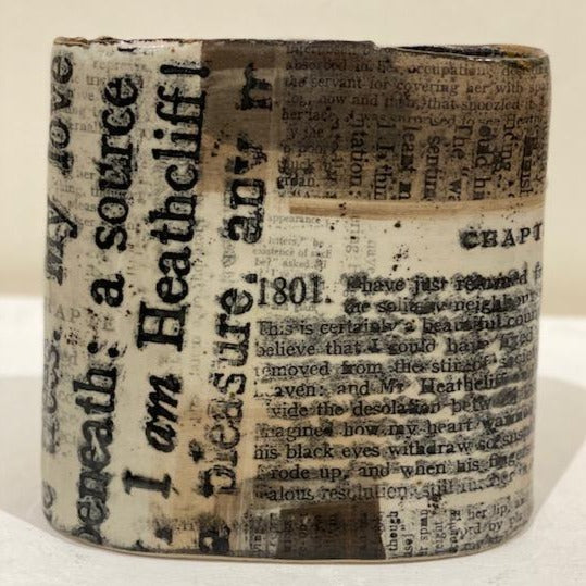 Cat Santos 'Wuthering Heights' printed stoneware  H22cm