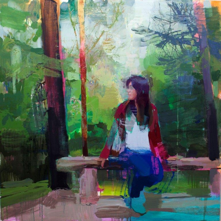 Jose Luis Cena Ruiz 'In the Woods' oil on canvas 100x100cms