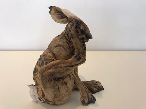 Jeremy James 'Medium Footlick Hare' ceramic 18cms H