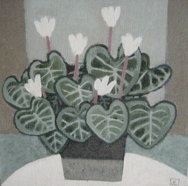Jill Leman 'Cyclamen' acrylic on board 20x20cm