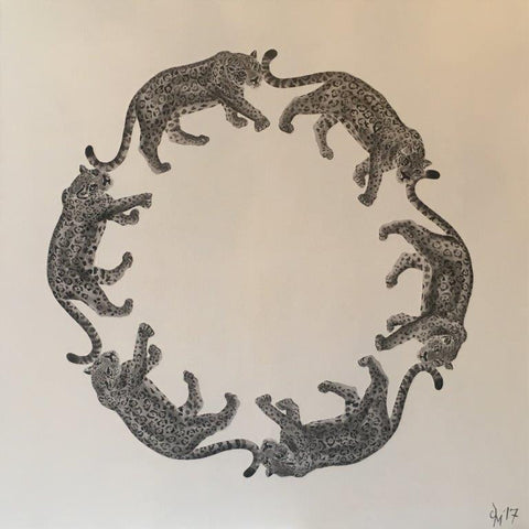 Jodie Glen-Martin 'Leopard Circle' acrylic on canvas 76x76