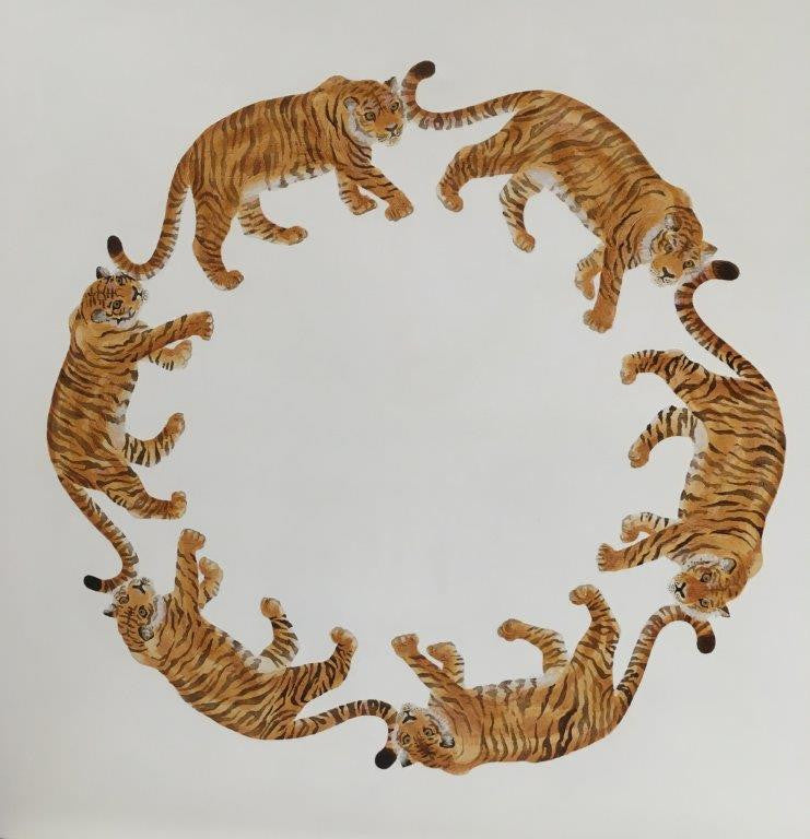 Jodie Glen-Martin 'Tiger Circle' 76x76cm acrylic on canvas