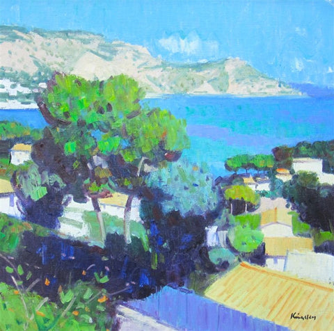 John Kingsley 'Mediterranean at Cap Ferrat' oil on canvas 20x20ins