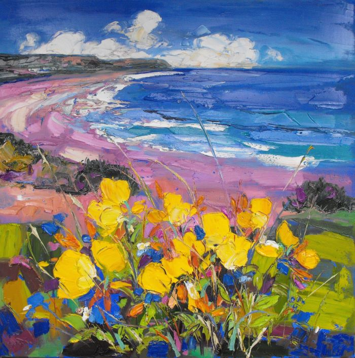 Judith Bridgland 'Evening Primroses, Port Eynon' oil on linen 81x81cms