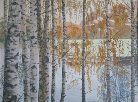 Julia Valtsefer 'Birch Grove' acrylic on canvas 75x100cm