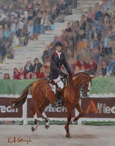 Katie Scorgie 'William Fox-Pitt & Chilli Morning, World Equestrian Games' oil on canvas 30x24cm