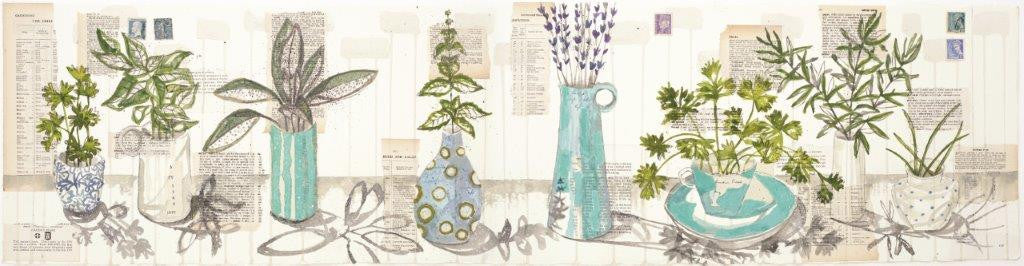Kirsten Jones 'Herbs with Blue Pots' 19x75cm limited edition print