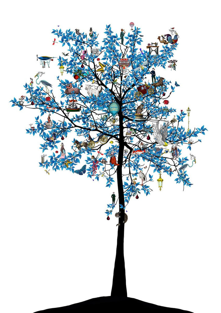 Kristjana Williams 'Mammalian Blue Folk Tree' Ltd ed print of 175 73x98cms (unframed)