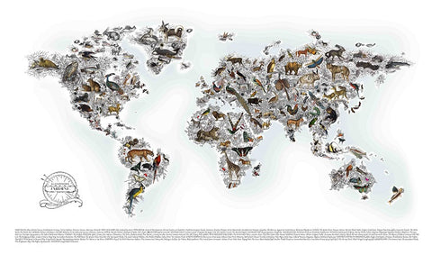 Kristjana S Williams 'Alexandra Jardine World Map' archival giclee print limited ed of 175