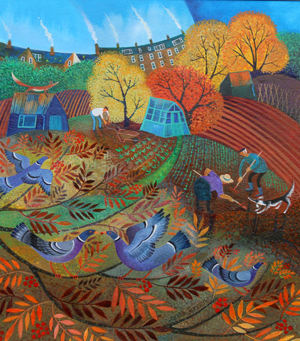 Lisa Graa Jensen 'Allotment Therapy' acrylic and gouache on paper 28x24.5cm
