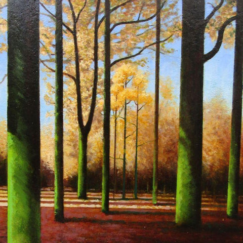 Louis McNally 'Autumnal Woods' oil on board 30x30cms