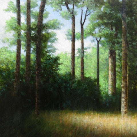 Louis McNally 'In the Shade' oil on panel 29x29cm