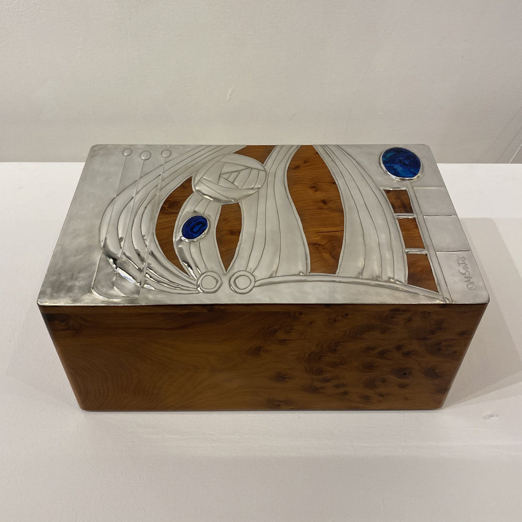 Maria Santos 'Rose & Abalone Shell' Thuya wood and pewter 26x15.5x12cm