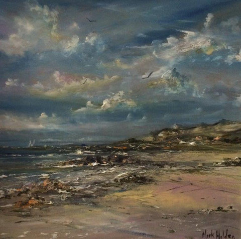 Mark Holden 'The Rugged Coast, North Beach, Iona' oil on canvas 50x50cm