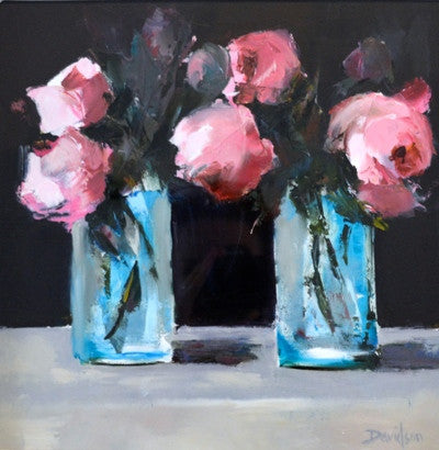 Mary Davidson 'Little Jars of Peonies' oil on board 12x12ins