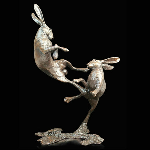 Michael Simpson 'Medium Hares Boxing' Bronze Limited Edition of 250 H23cm