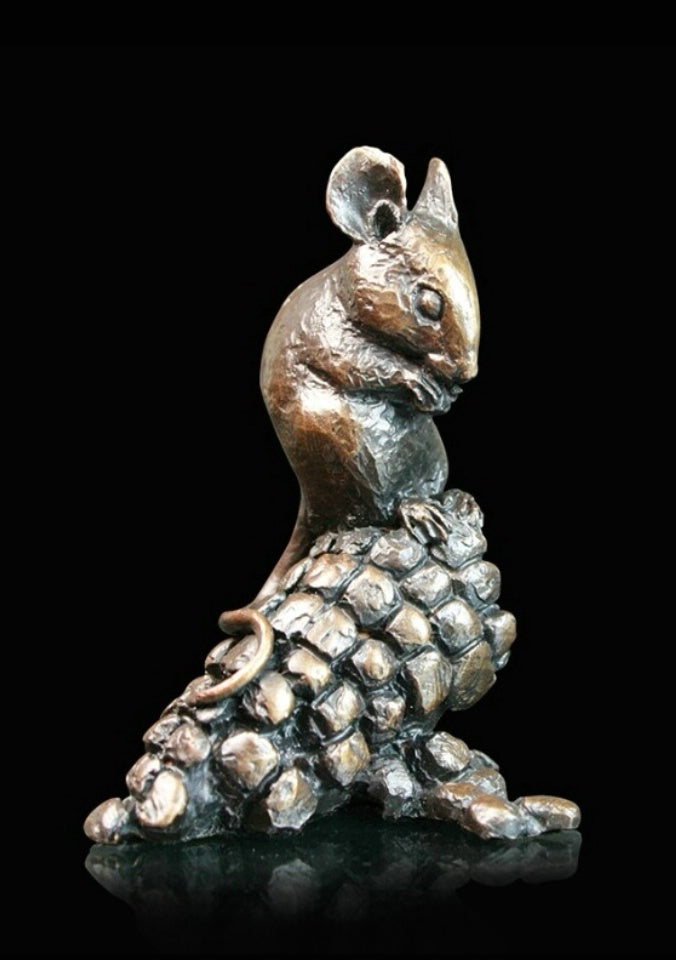 Michael Simpson mouse on corn bronze sculpture