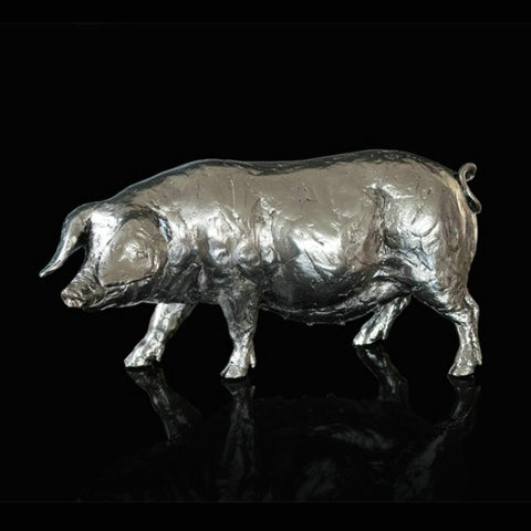 Michael Simpson 'Pig' nickel plated resin L26.5cm