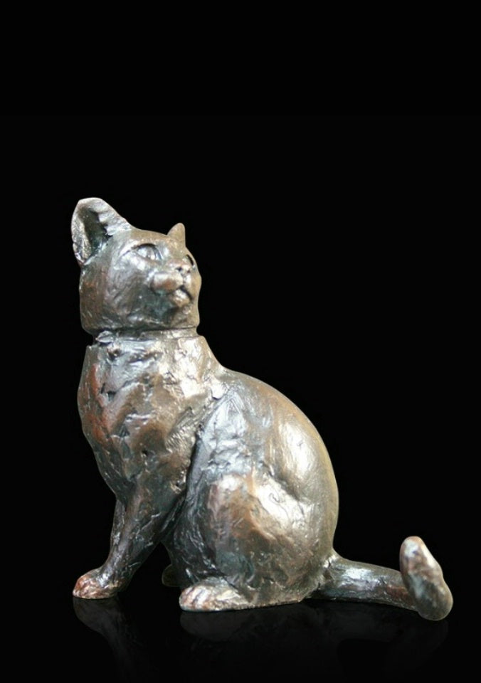 Michael Simpson 'Small Cat Sitting with Collar' bronze L5cm ltd ed of 150