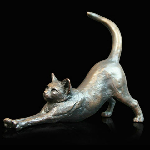 Michael Simpson 'Small Cat Stretching' Bronze Limited Edition of 150 H7cm