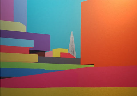 Michael Wallner 'National Theatre (Colours)' limited edition of 25 brushed aluminium print 61x98cm