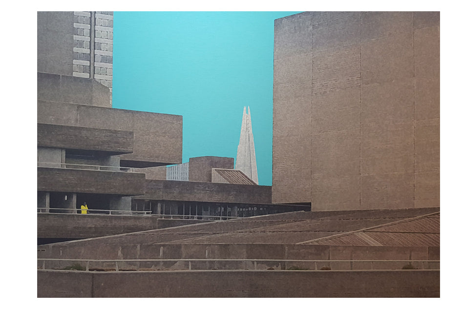 Michael Wallner 'National Theatre (blue sky)' brushed aluminium print Ltd edition of 30 18x14x5cms