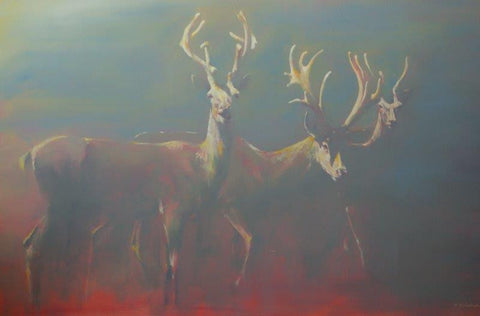 Michelle McCullagh 'Three Young Stags' oil on canvas 91.5x140cm