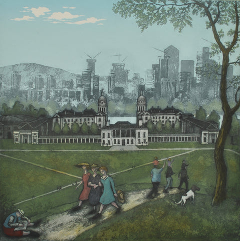 Mychael Barratt 'Greenwich Park - Spring, after Bruegel' ltd edition etching 50x50cm