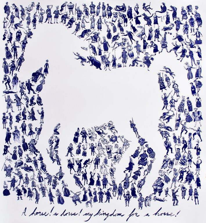 Mychael Barratt 'A horse! A Horse! My Kingdom for a Horse!' etching 68x75cms unframed