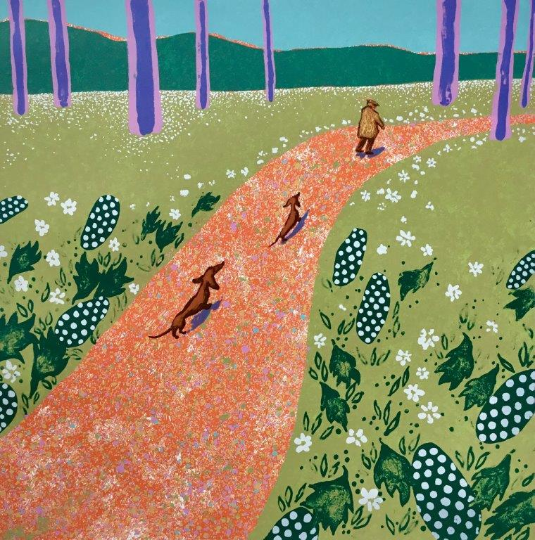 Mychael Barratt 'Hockney's Dogs in Spring' silkscreen 49x50cms