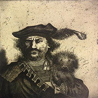 Mychael Barratt 'Rembrandt's Dog' limited edition etching 22x22cms (unframed)