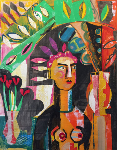 Naomi Munuo 'At Palm House' collage and mixed media on canvas 84x70cm