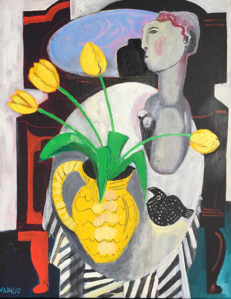 Naomi Munuo 'Still Life with Yellow Jug' acrylic on canvas 56x46cm