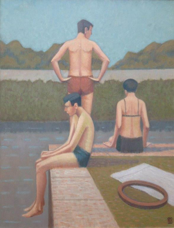 Nicholas Simington 'By the River' 91x71cm oil on canvas