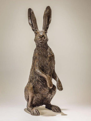 Nick Mackman 'Hare on Haunches' bronze resin edition of 10 H57cm