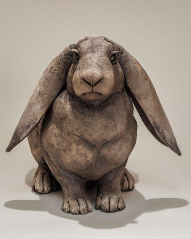 Nick Mackman 'Lop Eared Rabbit' ceramic H23cm