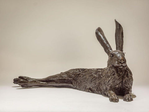 Nick Mackman 'Lying Hare' bronze resin, edition of 10 L57cm