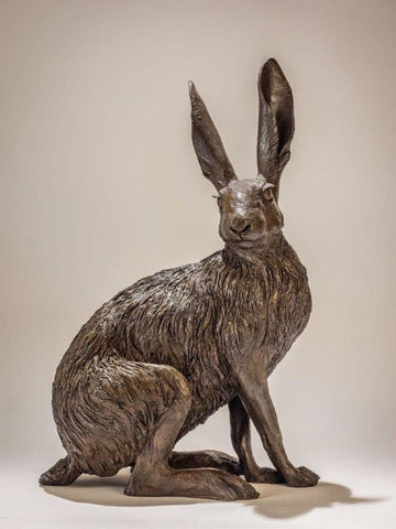 Nick Mackman 'Sitting Hare' bronze resin, edition of 10 H49cm