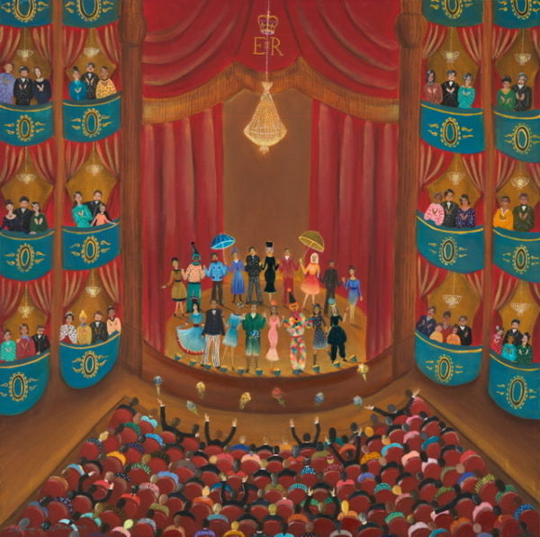 Daphne Stephenson 'Night at the Theatre, Standing Ovation' unframed limited edition print 50x50cms