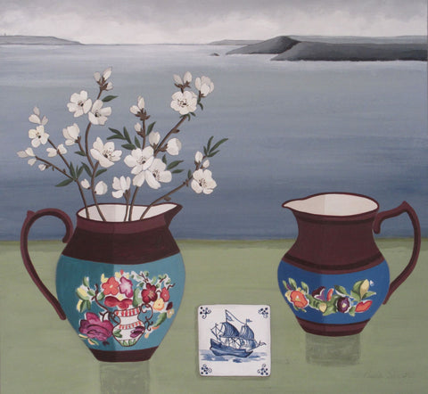 Paula Sharples 'Copper Lustre Jugs in a Cornish Landscape' acrylic, ink and graphite on board 30x30cms