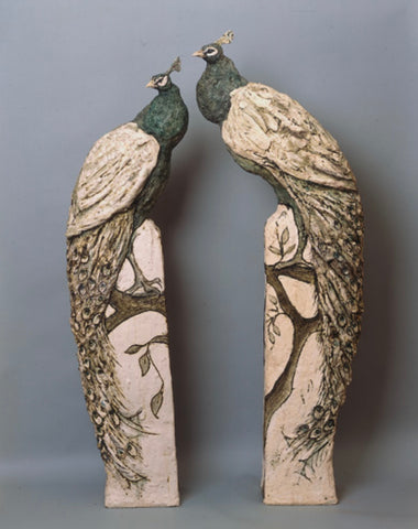 Tanya Brett 'Peacocks' ceramic (plinth not included)
