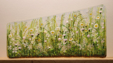 Vanda Zebrak and Peter Smyth 'Meadow' No 73 fused glass panel H20cm W37cm D4cm