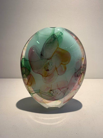 Peter Layton 'Floral Pink Medium Tall Stoneform' glass H20cm