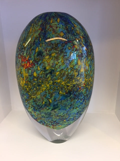 Peter Layton 'Klimt Pointillist Large Tall Stoneform' H29cm Glass