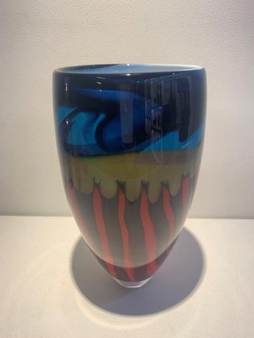 Peter Layton 'Prairie Development Tall Open Vase' glass H25.5cm