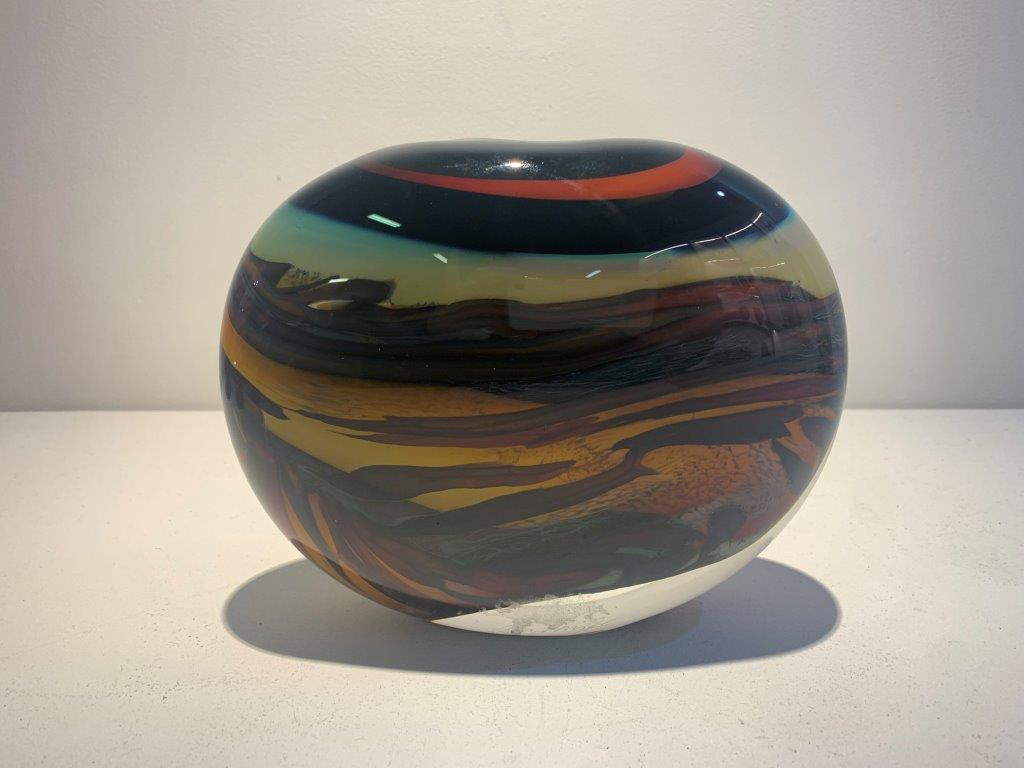 Peter Layton 'Prairie Medium Wide Stoneform' glass H18cm W16cm