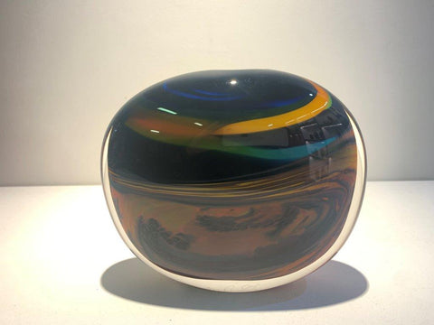 Peter Layton 'Prairie Medium Wide Stoneform' glass H18cm W20cm