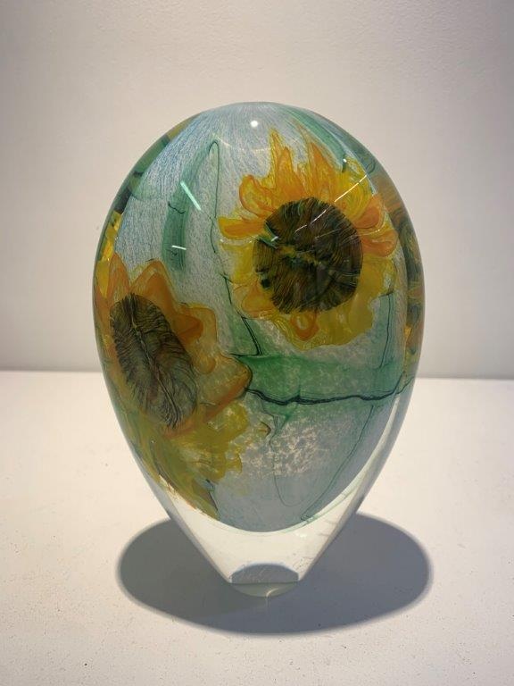 Peter Layton 'Sunflowers Tall Stoneform' glass H22cm